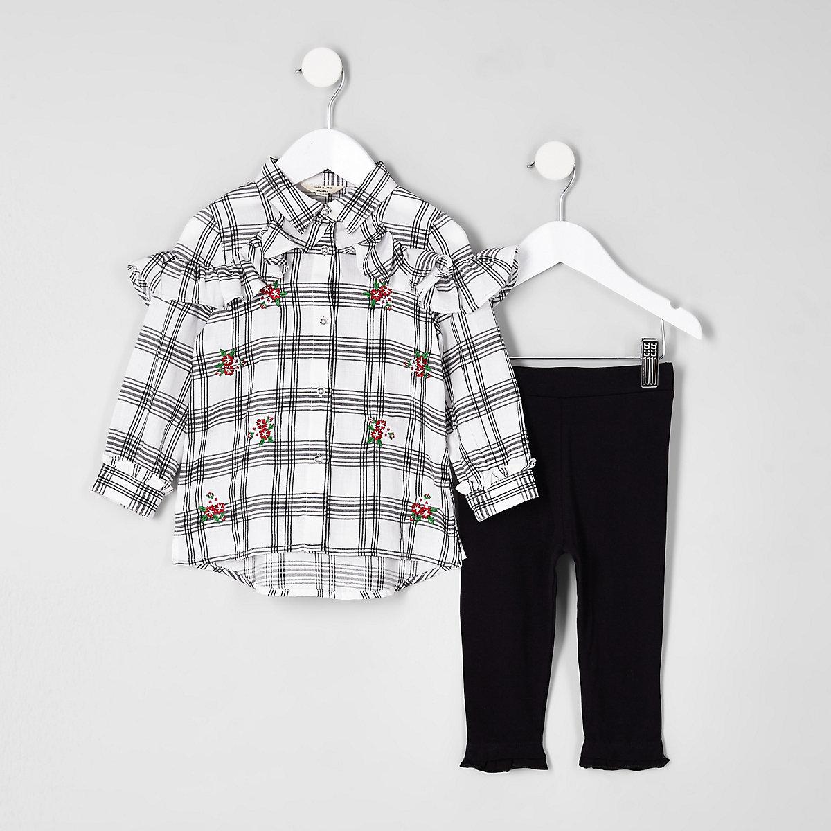 Mini girls white check frill shirt outfit