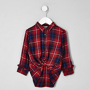 Mini girls red check longline shirt