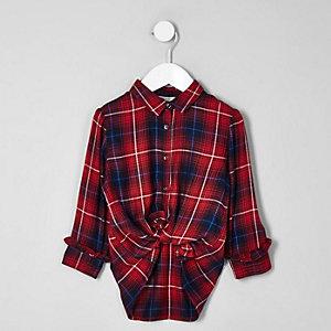 Chemise longue à carreaux rouge mini fille