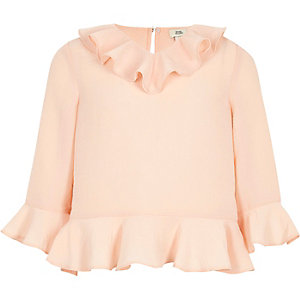 Girls cream ruffle blouse