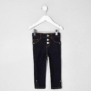 Mini - Molly - Donkerblauwe jeans met splitje in de zoom voor meisejs