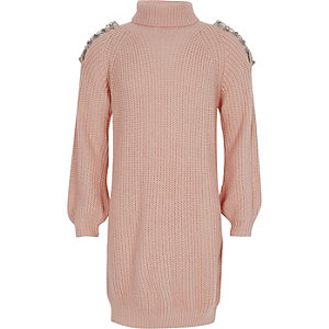 Girls pink knit cold shoulder jumper dress