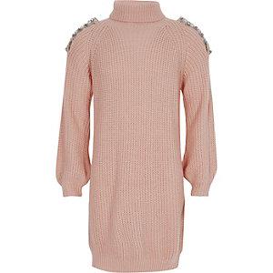 Roze gebreide schouderloze trui-jurk voor meisjes