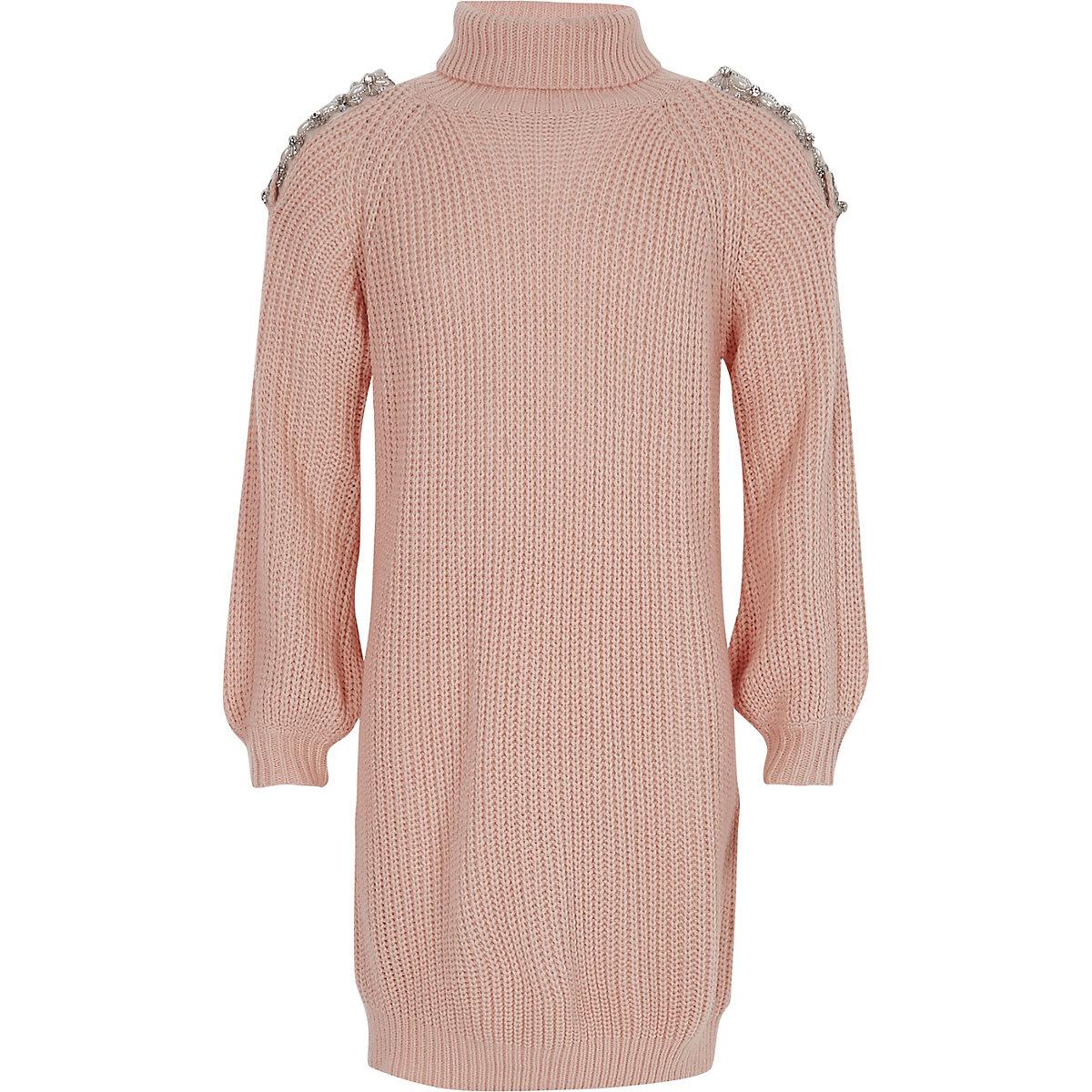 Girls pink knit cold shoulder jumper dress