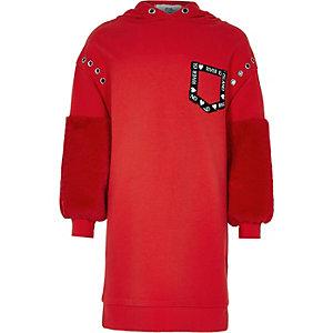 Robe sweat à capuche rouge avec manches en fausse fourrure fille