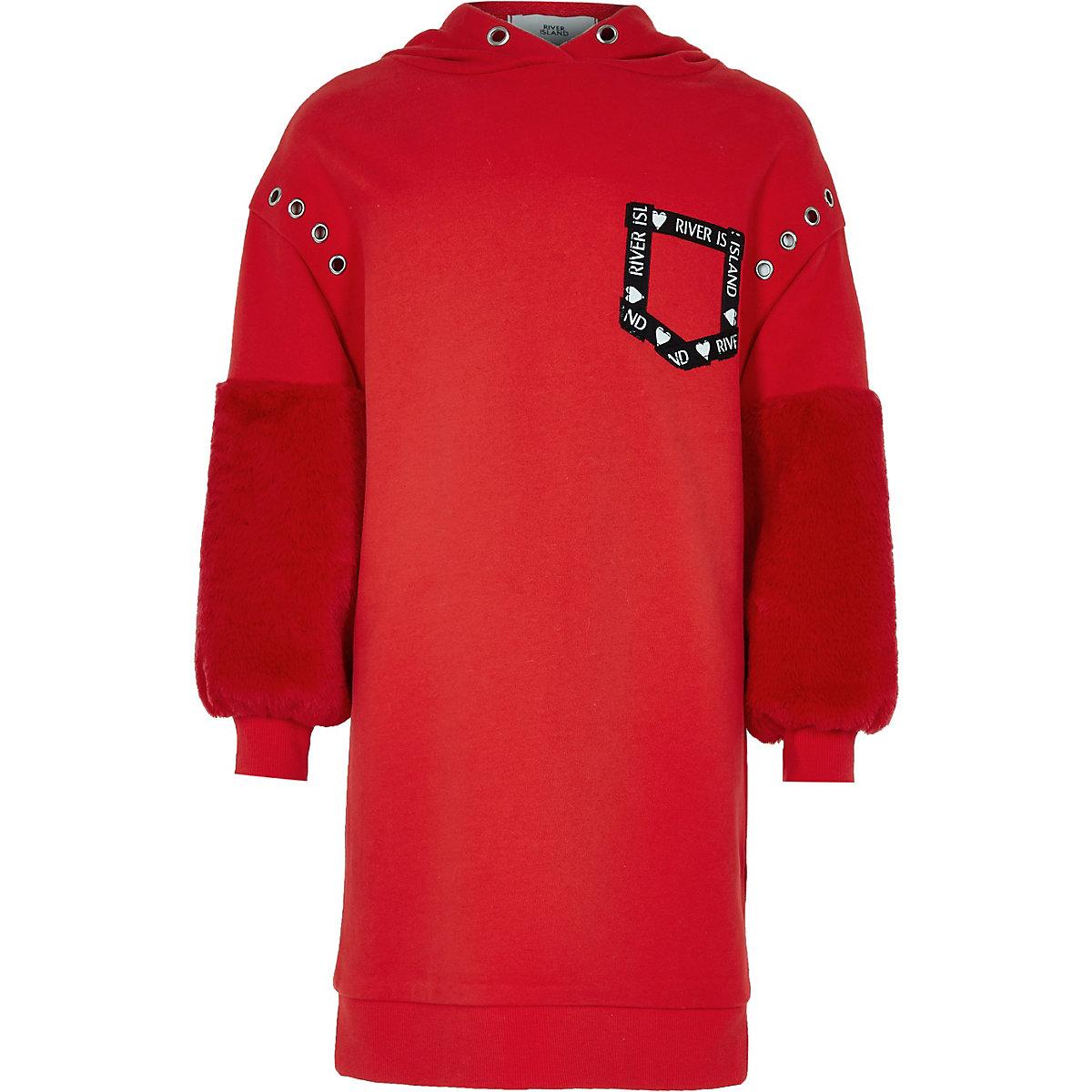 Girls red faux fur sleeve hoodie dress