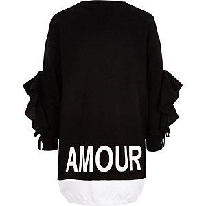 Robe sweat imprimé «amour» noir pour fille
