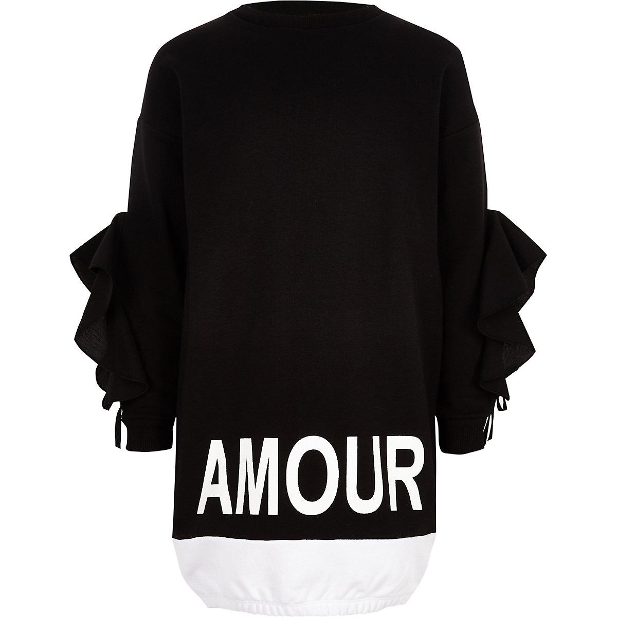 Girls black 'amour' print sweatshirt dress