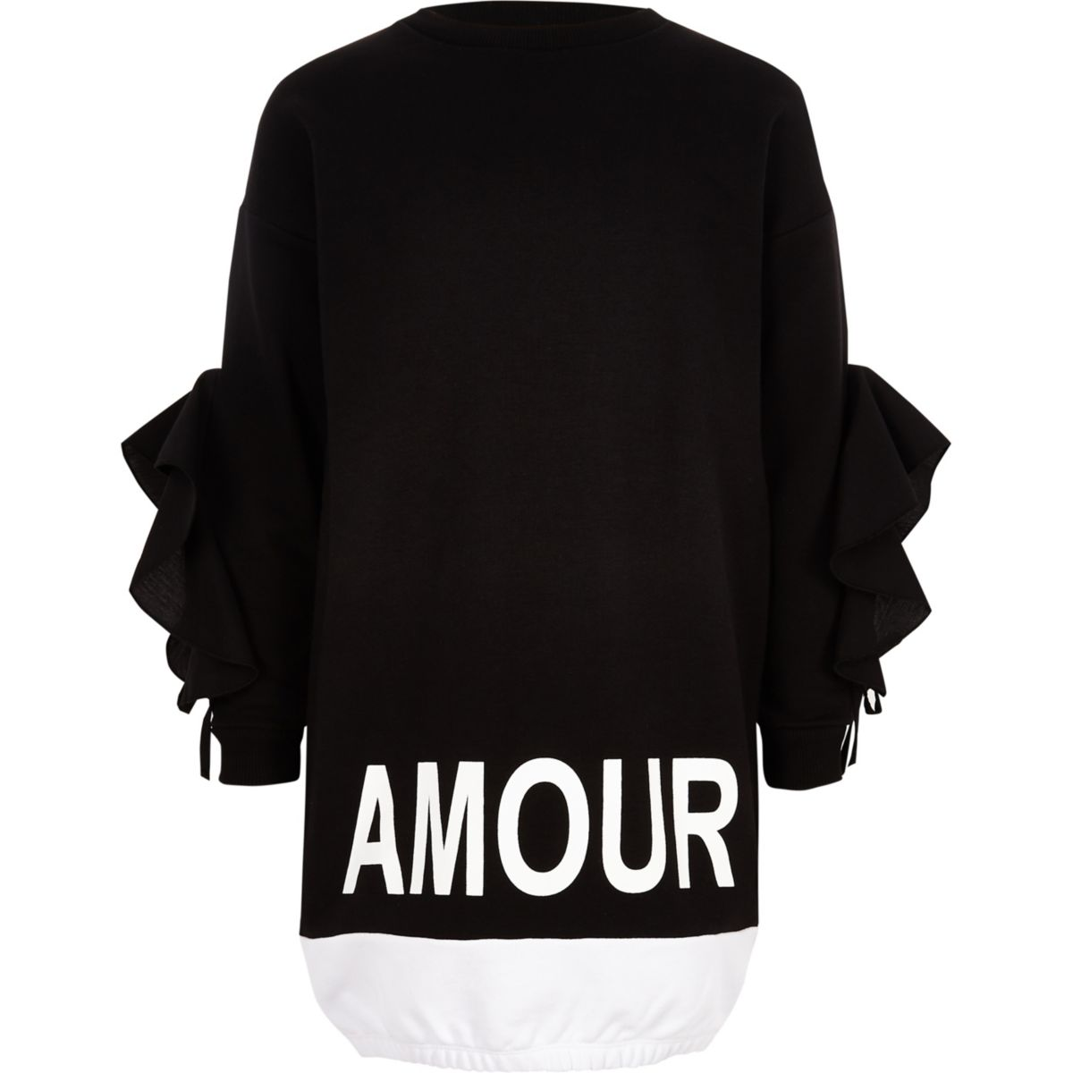 Girls black 'amour' print sweatshirt dress