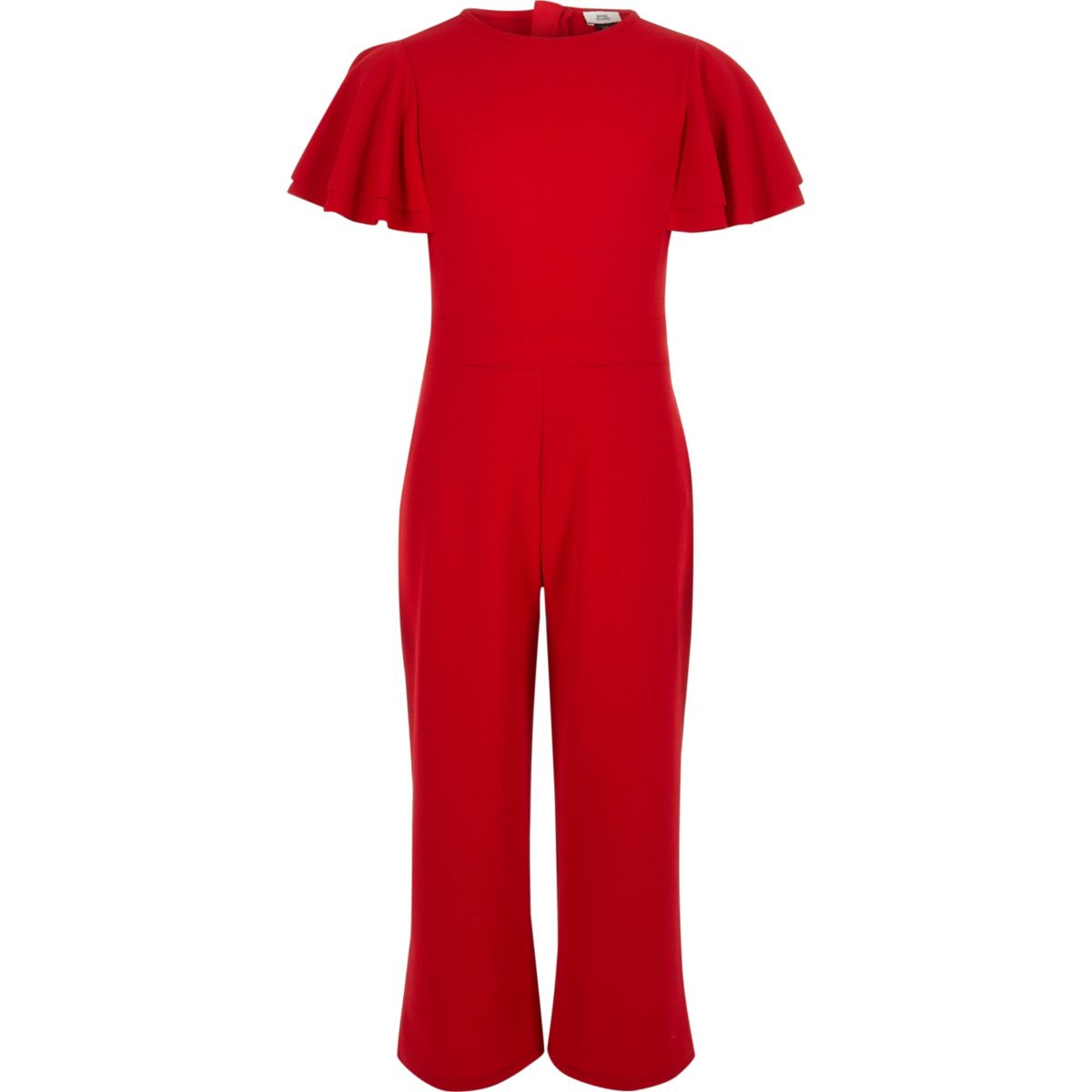 Girls red frill sleeve culotte jumpsuit