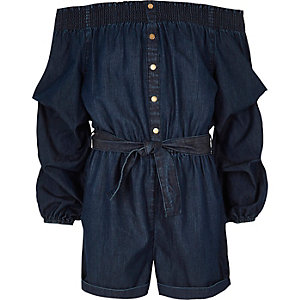 Girls blue denim bardot romper