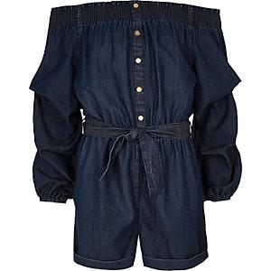 Combi-short Bardot en jean bleu pour fille