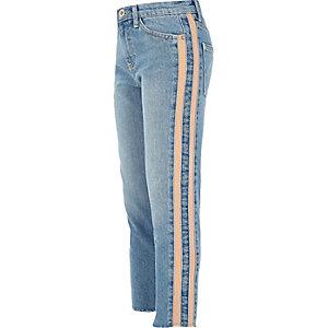 Amelie - Blauwe jeans met rechte pijpen en streep voor meisjes