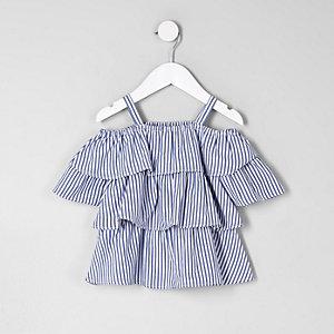 Mini - Blauwe schouderloze top met ruches voor meisjes