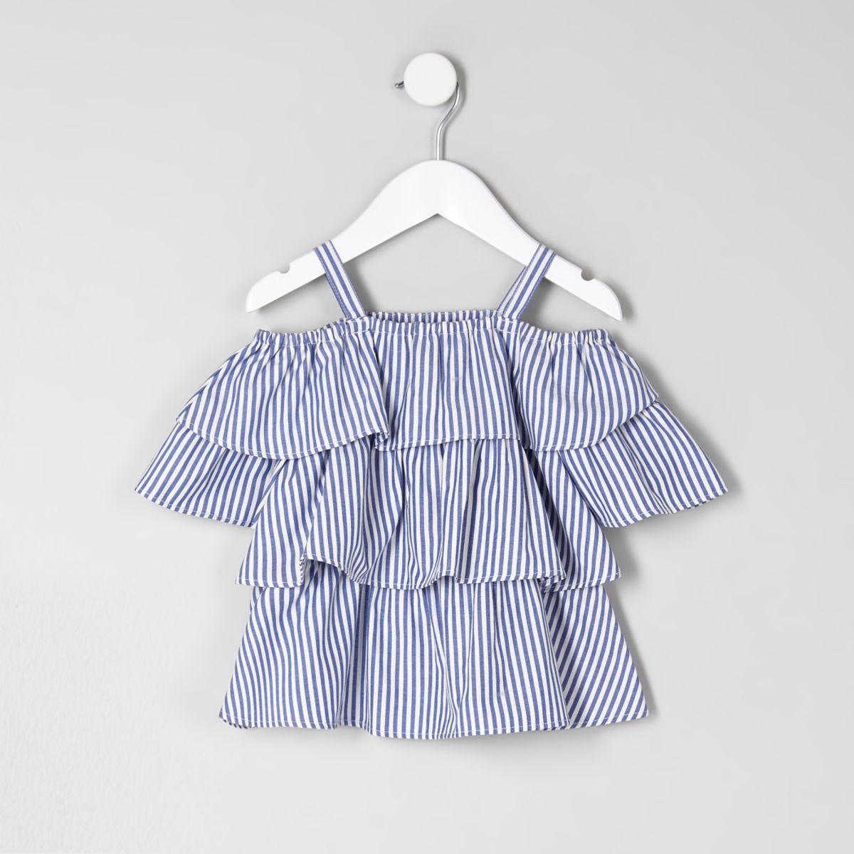 Mini girls blue frill cold shoulder top