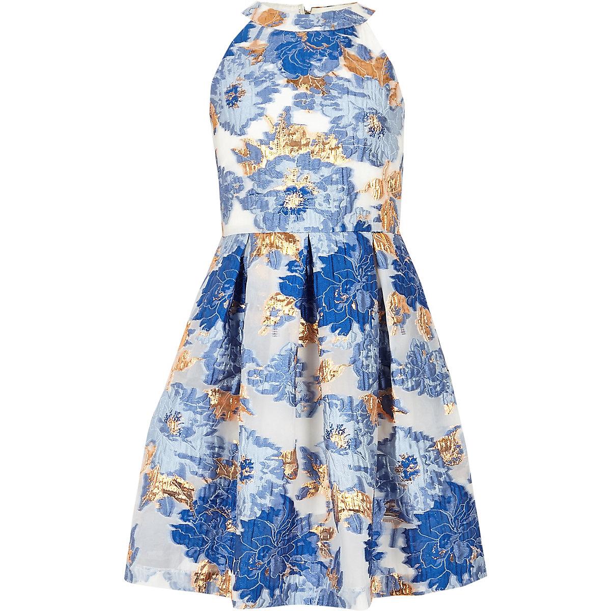 Robe de gala en jacquard bleu métallisé pour fille