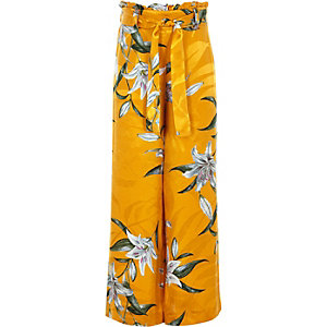 Girls yellow floral paperbag waist pants