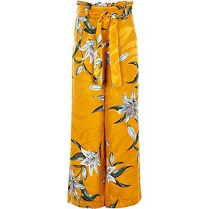 Pantalon à fleurs jaune à taille haute ceinturée pour fille