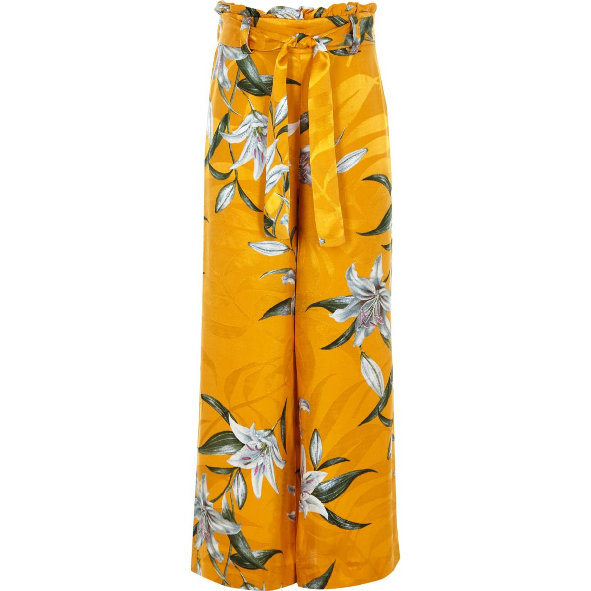 Girls yellow floral paperbag waist trousers