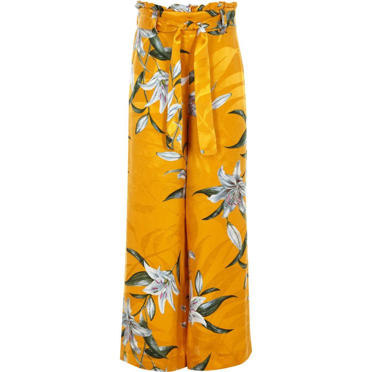 Girls yellow floral paperbag waist pants