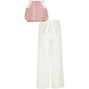 Outfit met rode gestreepte camitop met bloemenprint voor meisjes