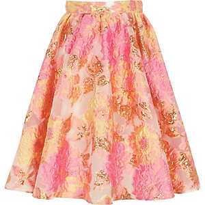 Girls pink and yellow jacquard prom skirt