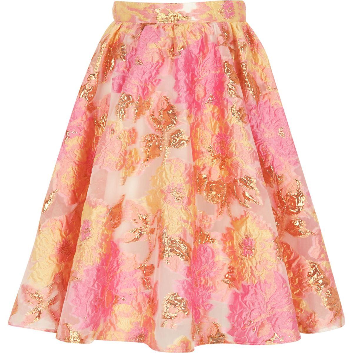 Girls pink and yellow jacquard prom skirt