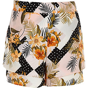 Girls pink floral layered shorts