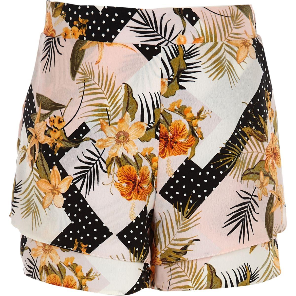 Girls pink floral layered shorts