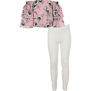 Outfit met roze gestreepte bardottop met ruches voor meisjes