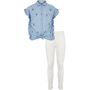 Ensemble avec chemise bleue ornée de pierres fantaisie pour fille