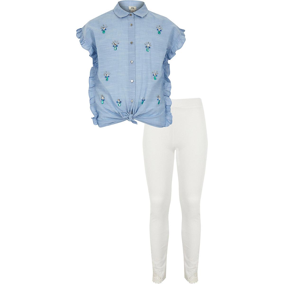 Girls blue jewel embellished shirt outfit