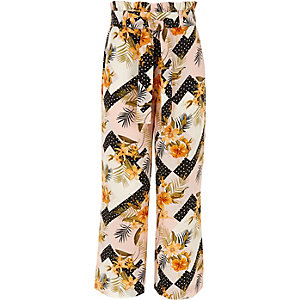 Girls pink floral split wide leg trousers