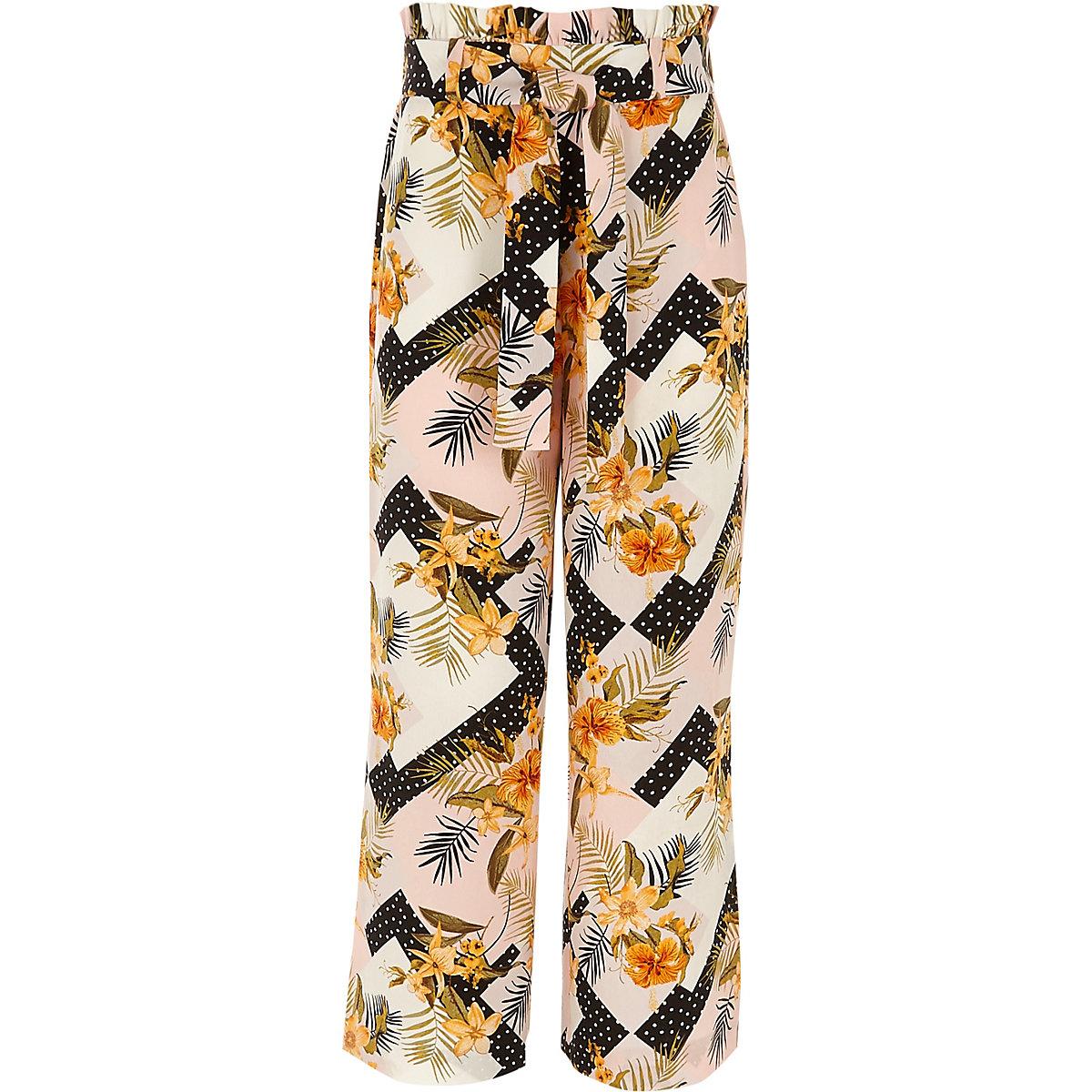 Girls pink floral split wide leg trousers