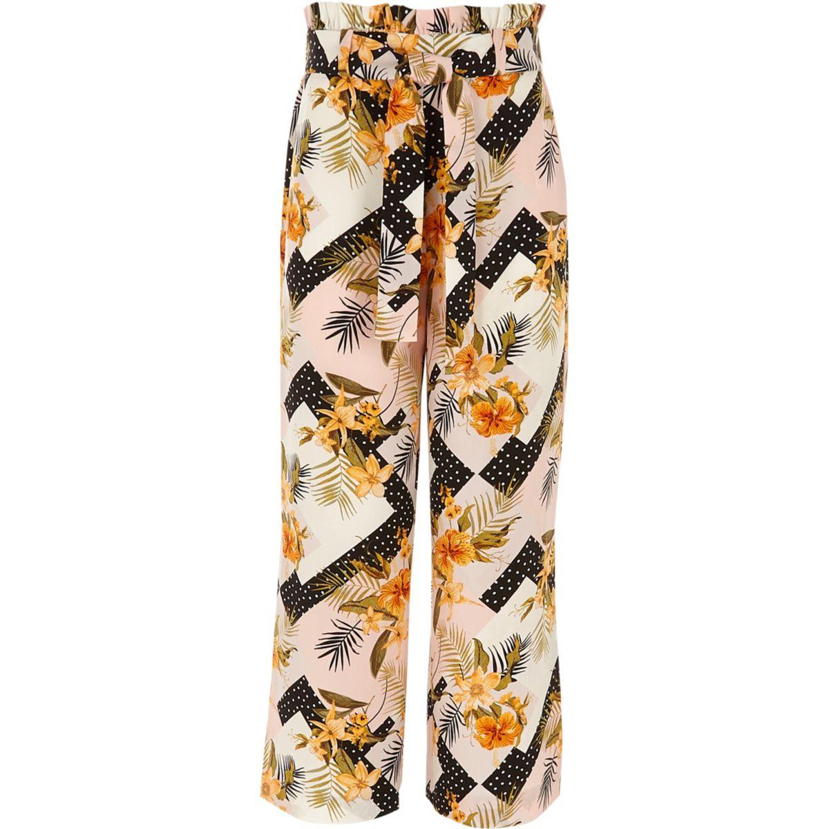 Pantalon large à fleurs rose fendu pour fille