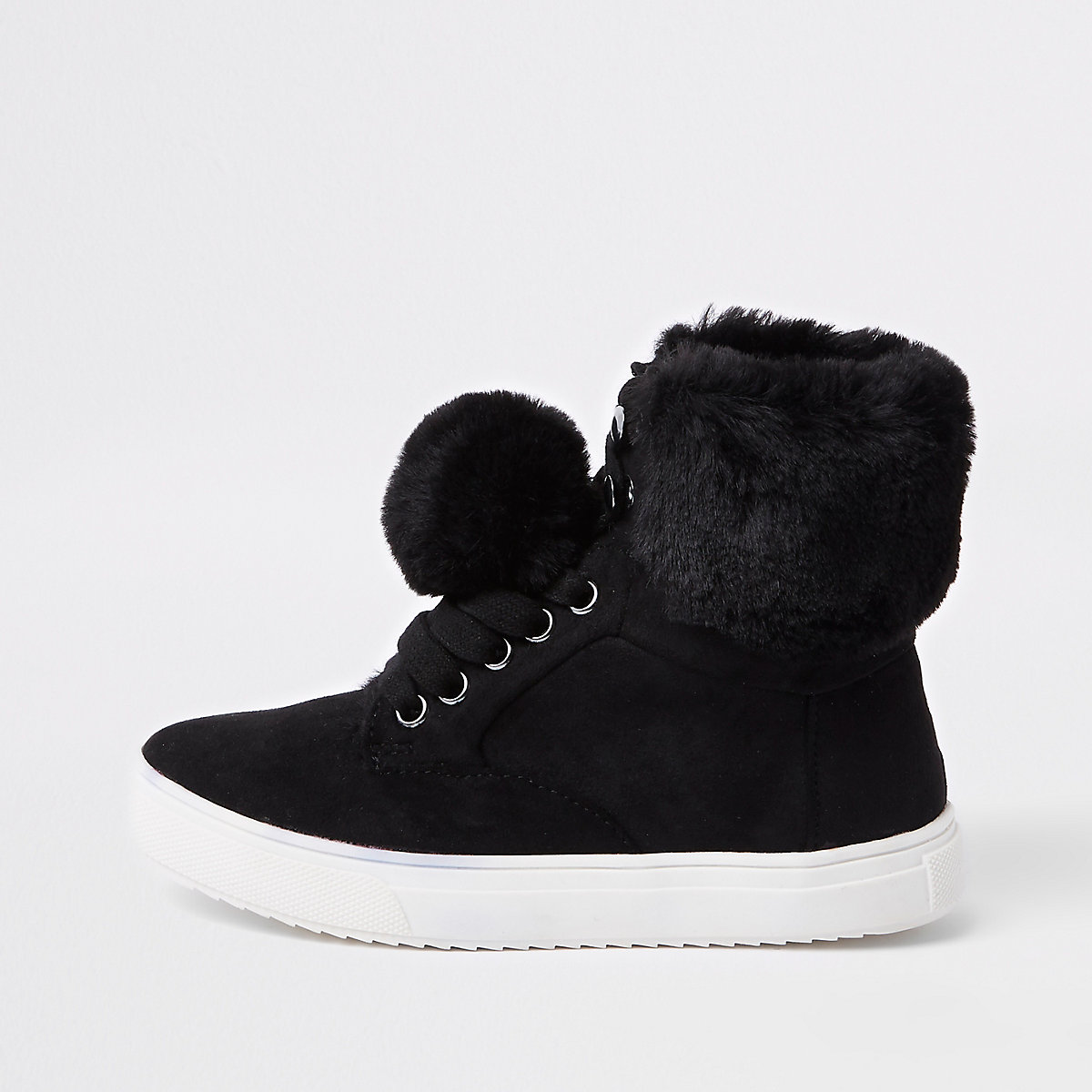 Girls black faux fur high top trainers