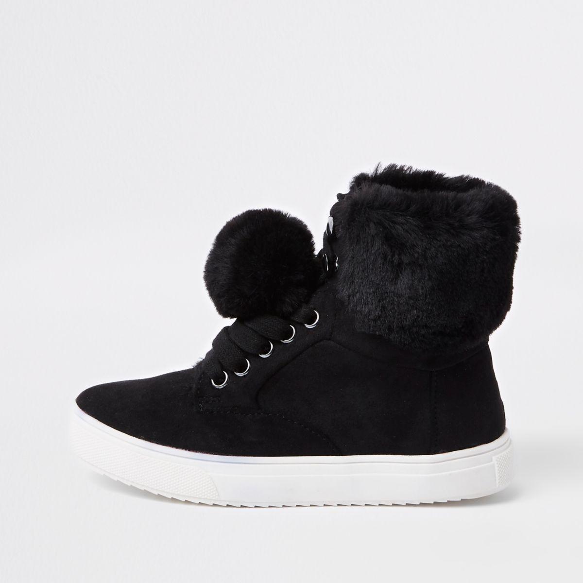 Girls black faux fur high top sneakers