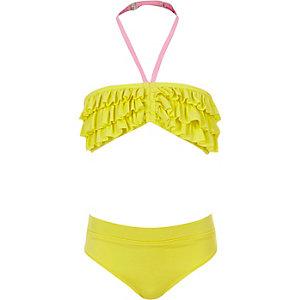 Tankini jaune à volants style bandeau pour fille