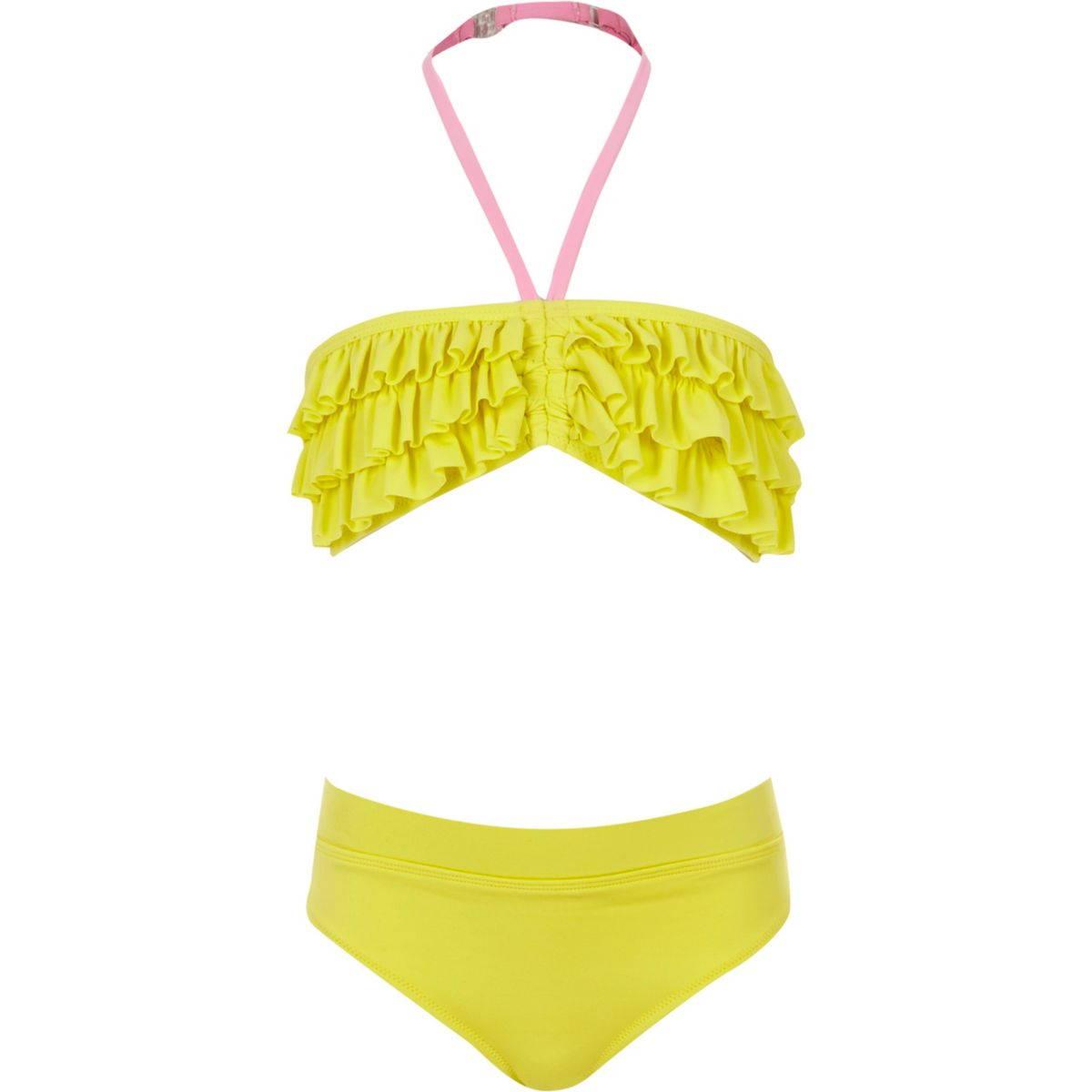 Girls yellow ruffle bandeau tankini