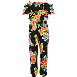 Girls black floral pom pom jumpsuit