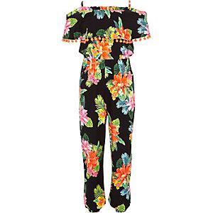 Girls black floral pom pom jumpsuit