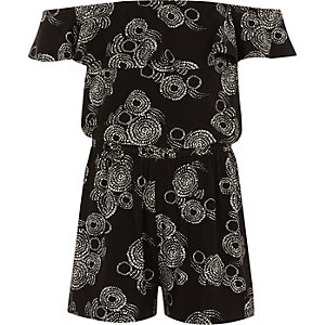 Girls black swirl print bardot playsuit