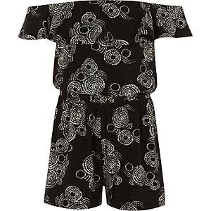 Zwarte bardotplaysuit met wervelende print voor meisjes