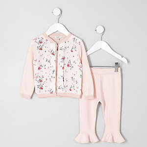 Mini girls pink floral cardigan legging set