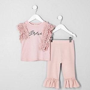 Ensemble rose avec top en dentelle élégante mini fille