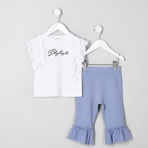 Mini girls white 'stylish' lace top outfit