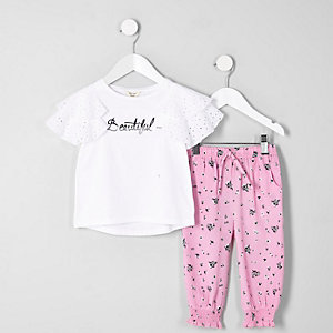 Mini girls white 'beautiful' broderie outfit