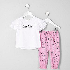 Mini - Outfit met wit brocaat en 'Beautiful'-print voor meisjes