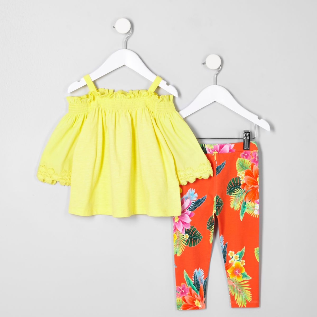 Mini girls yellow bardot and leggings outfit