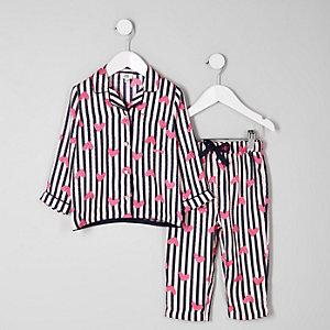 Mini - Roze satijnen pyjamaset met strepen en hartenprint voor meisjes